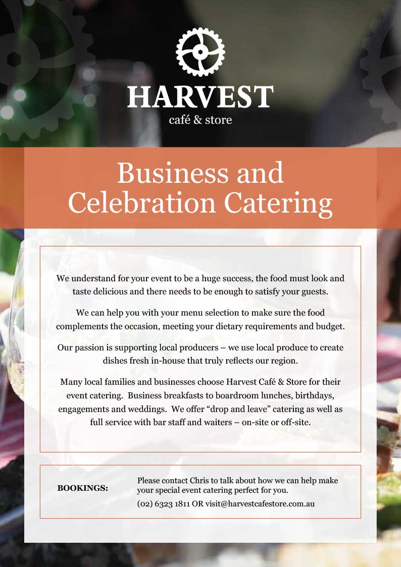 Business & Celebrations Catering Menu | Harvest Cafe & Store, Bathurst